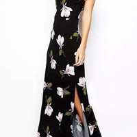 Black Floral Print Side Slit Maxi Dress