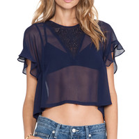 Tularosa Flutter Top in Navy