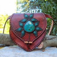 CHRYSOCOLLA MACRAME LEATHER BLOOM HANDBAG | mundialtreasures - Bags & Purses on ArtFire