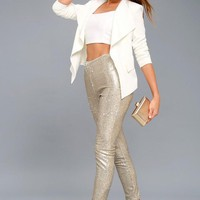 Champagne Sequin Sparkle Slim Fit Leggings