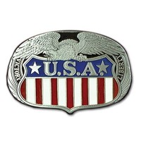 United States American Flag Pewter Belt Buckle