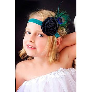 Single Black Flower Floral Peacock Feather Baby Prop Headband - CCH138