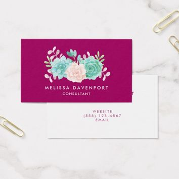 Pastel Pink & Green Floral Bouquet on Magenta Back Business Card