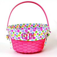 Little Girls Fabric Lined Pink Wicker Easter Basket*Free Monogramming*