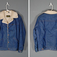 1970's Wrangler Wrange Coat / Denim Jacket / Sherpa Lined / Size Large