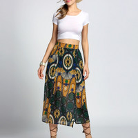 Tribal Pattern Maxi Skirt