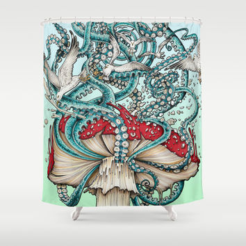 Flying the Agaric Shower Curtain by TAOJB