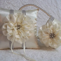 Ivory Ring Bearer Pillow and matching Flower Girl Basket with Rhinestone Mesh handle and Trim