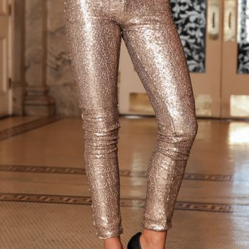 Ready For Anything Sequin Leggings-Taupe