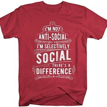 Shirts By Sarah Men's Funny Selectively Social T-Shirt Hilarious Hipster Anti-Social Shirt