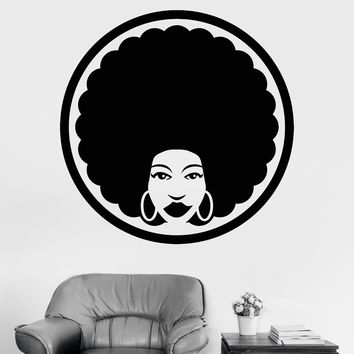 Vinyl Wall Decal Afro Hairstyle Hairdresser Black Lady Hair Beauty Salon Stylist Stickers Unique Gift (792ig)