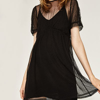TULLE AND KNIT DRESS DETAILS