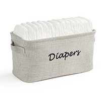Baby Diaper Storage Bin - Nursery Organizer Caddy - Embroidered Eco-friendly Grey Linen
