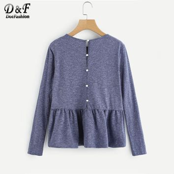 Buttoned Back Heather Knit Smock Top Autumn Round Neck Solid Top Ladies Long Sleeve Casual T Shirt