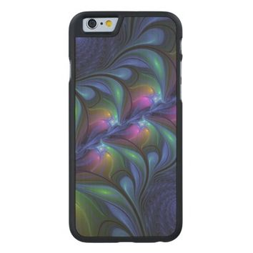 Colorful Luminous Abstract Blue Pink Green Fractal Carved® Maple iPhone 6 Slim Case