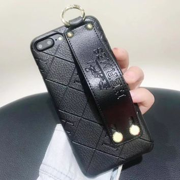 Hermes New fashion leather case couple protective cover phone case Black
