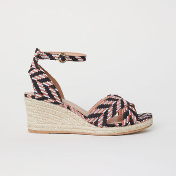 Wedge-heel sandals - Black/Patterned - Ladies | H&M GB