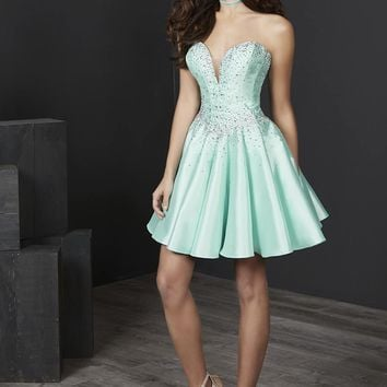 Tiffany Homecoming - 27243 Plunging Sweetheart Corset Mikado Dress