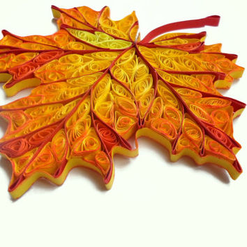 Quilled Home decor, Fall Decorations, Autumn leaves,Wood Decor,  Rustic Decor,  paper quilling, set of 2 pieces