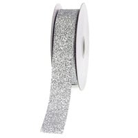 Glitter Ribbon Christmas Giftwrapping, 7/8-inch, 25-yard, Silver