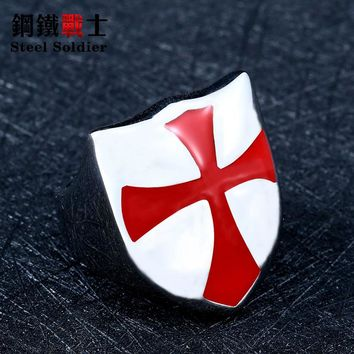 steel solider red cross knight shield stainless steel ring men hot sale high quality fashion jewelry