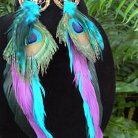 peacock feather  dreamcatcher earrings turquoise amethyst peacock  in native american inspired  tribal boho belly dancer and hipster style