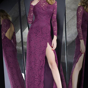 High Slit Lace Overlay Hollow out Purple Maxi Dress
