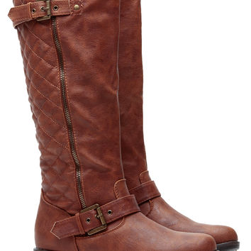 Chestnut Faux Leather Quilted Double Buckled Boots