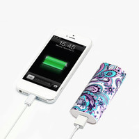 Elegant Floral Pattern Power Bank Charger for iPhone and Samsung