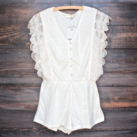 womens button-up lace romper in cream