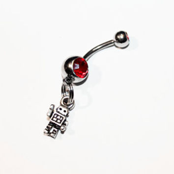 Robot Belly Button Ring, Robots, Navel Ring, Sci Fi Jewelry, Belly Piercing