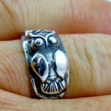 Handmade 999 pure silver ring -Big Owl-art clay silver PMC