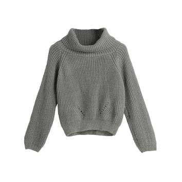 Vertical Stripes Stand Neck Raglan Sleeves Short Knitted Grey Sweater