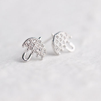 sweet lovely small umbrella 925 sterling silver zircon earrings,a perfect gift