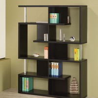 Alternating shelves design room divider black finish wood modern styling slim line bookcase shelf unit
