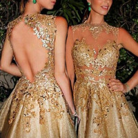 Open Back Prom Dresses,Gold Prom Dress,Short Evening Dress