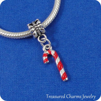 Candy Cane European Dangle Bead Charm - Silver and Red Candy Cane Charm for European Bracelet