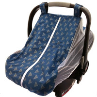 Summer car seat canopy with mosquito netting sides and fitted elastic bottom - Dark blue with silver metallic triangles