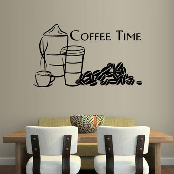 Wall Vinyl Sticker Decals Decor Art Kitchen Coffee Time Cup table (z1150)