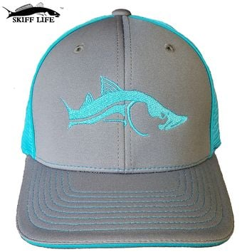 Two Color Flexfit Charcoal Gray with Neon Blue Meshback Snook Fishing Hat by Skiff Life