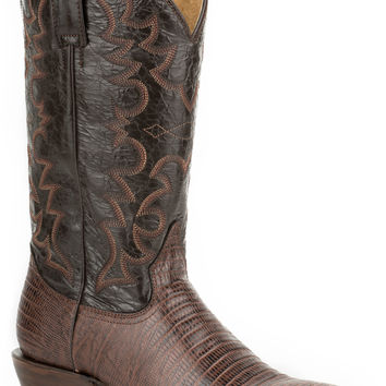Roper Mens Faux Exotic On Leather R Toe Boots Faux Dark Brown Teju Brown Shaft