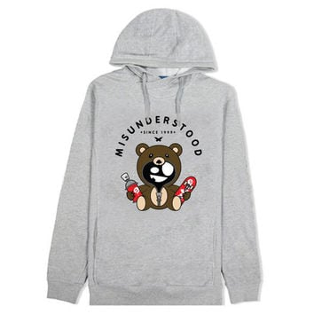 Misunderstood Classic Teddy Heather Gray Custom French Terry Hoodie - Last One!