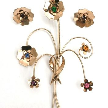 Vintage Brooch Sterling SIlver  Colored Stones Set 1940s Large