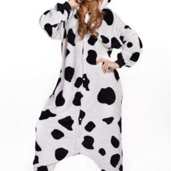 Unisex Adult Pajamas Cosplay Costume Animal one piece sleepwear Suit Milk Cow