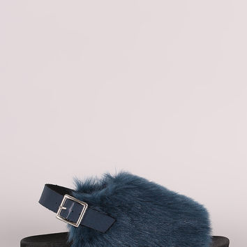 Furry Open Toe Slingback Footbed Sandal