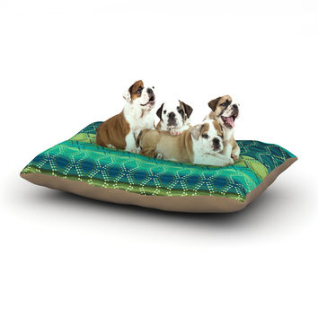 "Nina May ""Denin Diamond Gradient Green"" Turquoise Emerald Dog Bed"