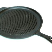 """11"""" Cast Iron Round Grill and Griddle Pan"""