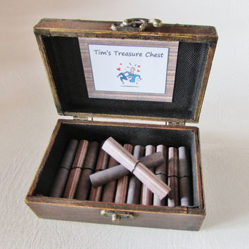 A Treasure Chest of Fun, Date Night Ideas AND Sexual Favors in Wood Chest, Birthday Gift, Anniversary Gift, Coupon Book, Sexy, Boyfriend