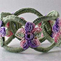 Crochet Bracelet Chainmail Bangle Sage with by Nothingbutstring