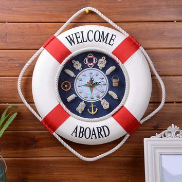 Mediterranean Lifebuoy Wall Clock, Creative Home Hanging Ornament.
